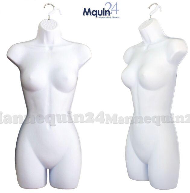 1 Female Dress Mannequin Body Form (Hard Plastic /White) & Hook for Hanging P77W