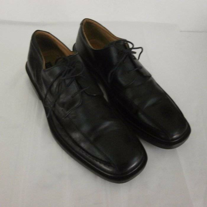 Structure Twin Seam Oxford Black Leather Dress Casual Mens 11 Italy