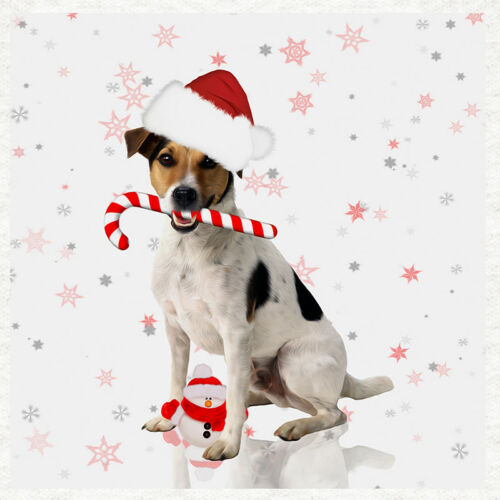 Christmas Fabric Quilting SewingCraft Panel Jack Russell Dog