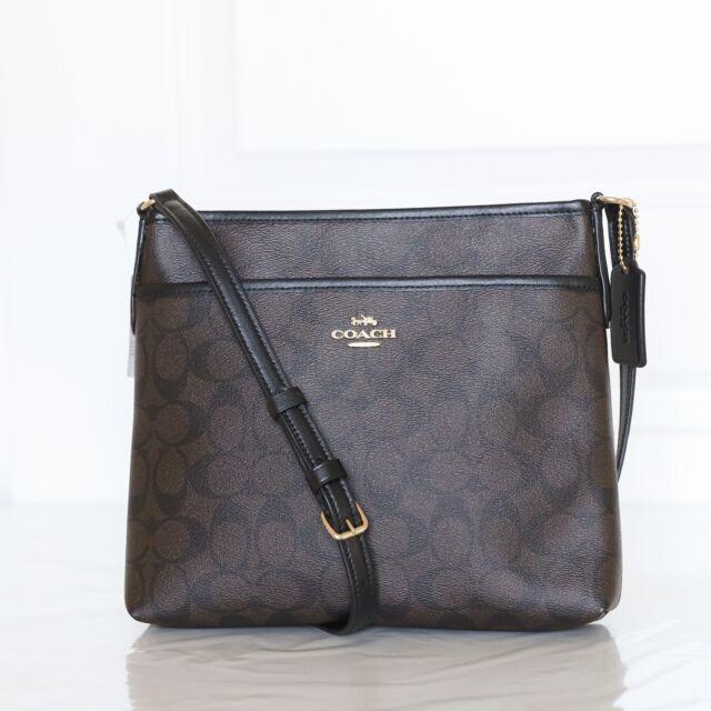 france coach charlie patent leather tote 01179 da83b  order coach f29210  crossbody file bag in signature canvas brown black 2757b 100cc 077f76b670ea0