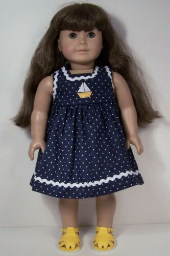 "NAVY BLUE Polka Dot Sailboat Dress Doll Clothes For 18/"" American Girl Debs"
