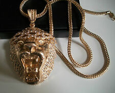 Gold finish Hip Hop Bling Ice Out Rapper Style LION pendant/36'' Franco Chain