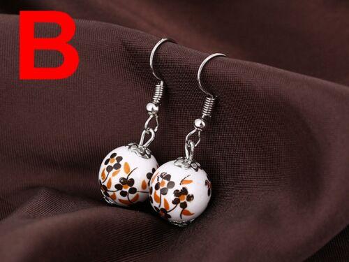 10 Paires Fashion Style Chinois céramique porcelaine Dangle Boucle d/'Oreille pour Femmes