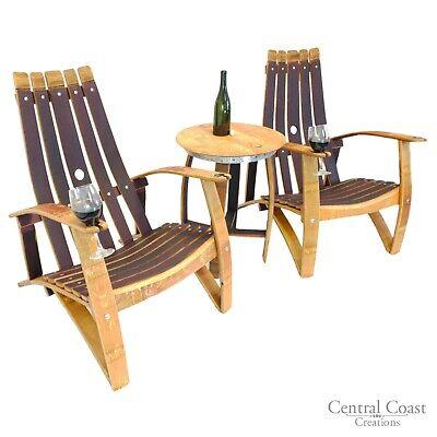Wine Barrel Stave Relax Adirondack, Rustic Patio Furniture Set