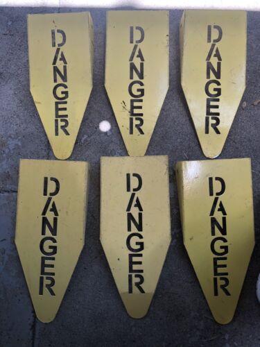 Danger Metal Street Signs Railroad Train Prop Jurassic Park Halloween Lot of 6