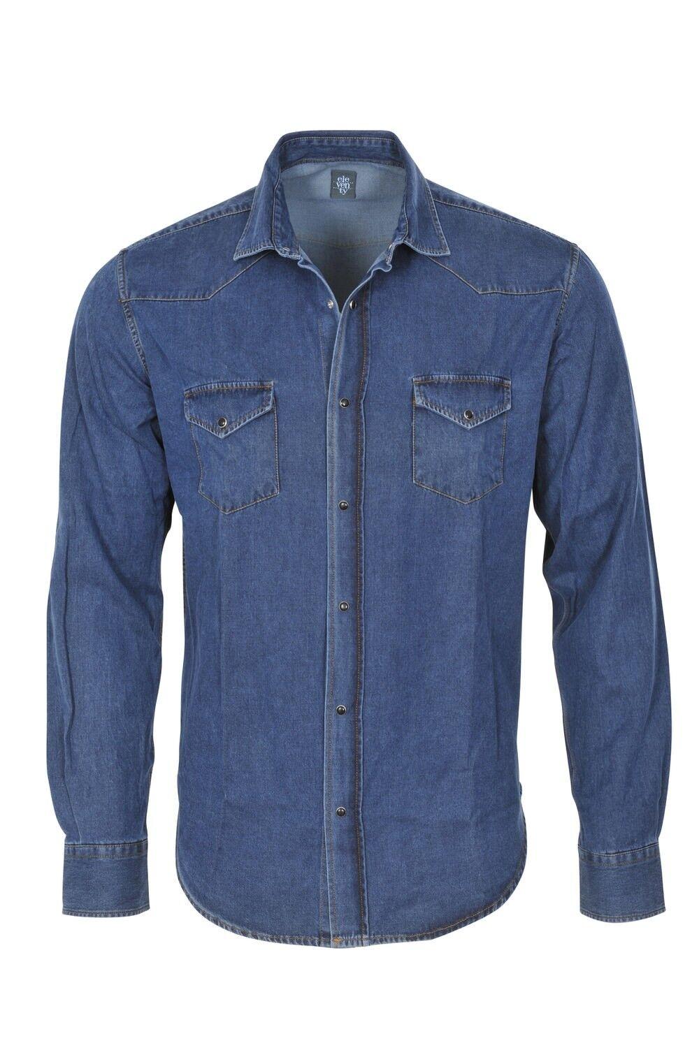 Eleventy Shirt Men's 3XL Dark-bluee  Cotton  Jeans