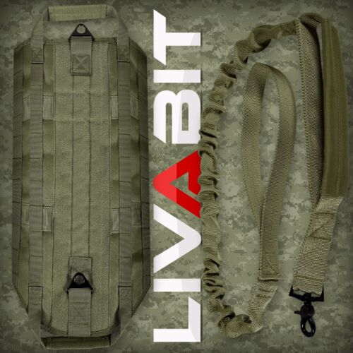 K9 Service Police Dog LIVABIT Tactical Molle Vest Harness Canine Leash OD Green