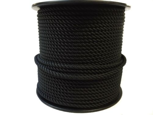 moorings boats 8mm x 40 Mts black nylon 3 strand rope builders anchor ropes