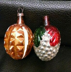 Details About 2 Vintage Antique Mercury Glass Christmas Ornaments Acorn Spiked And Regular