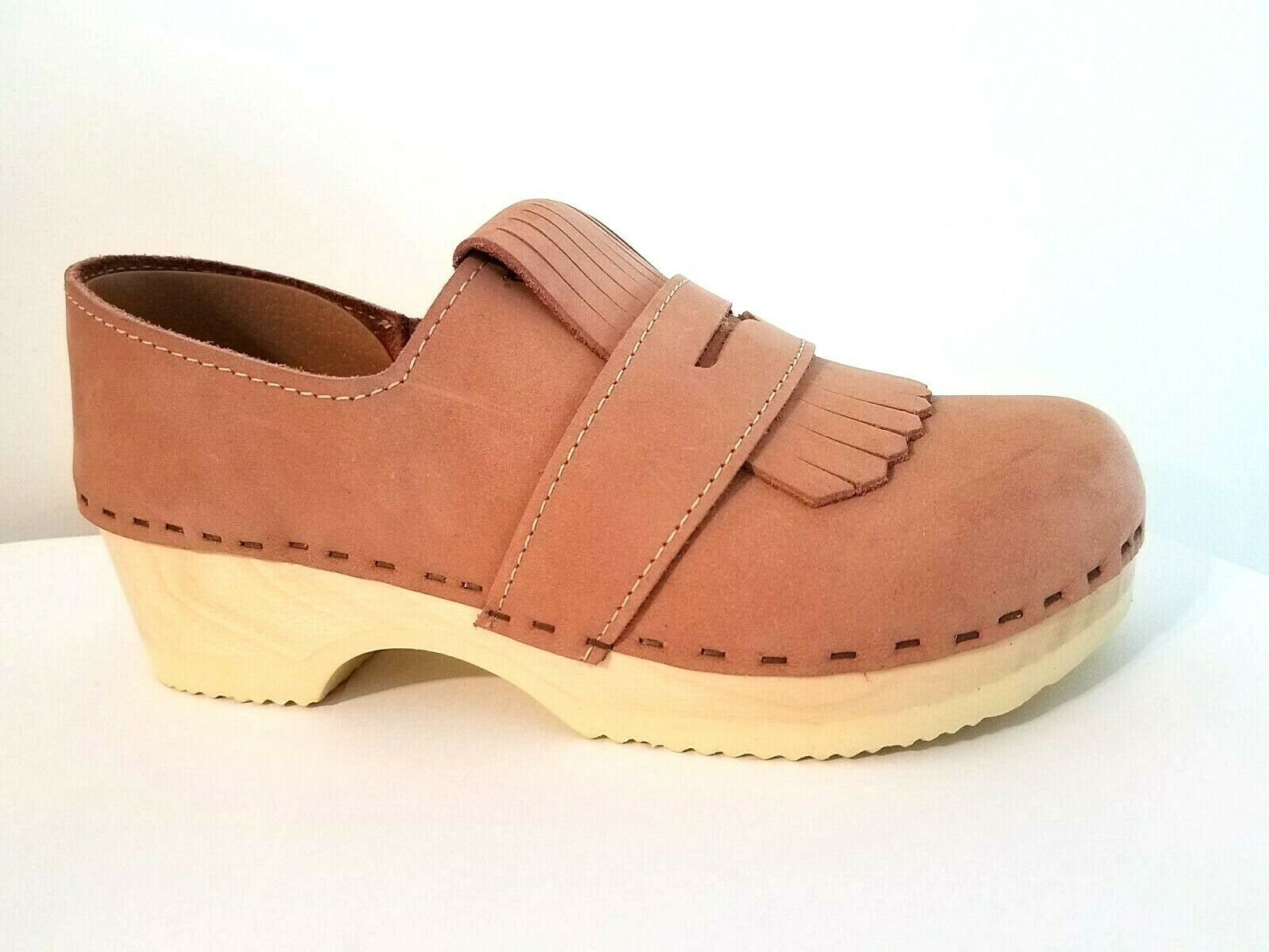 New SVEN Kiltie pink Nubuck Sueded Leather Closed Back Clogs 6 36 by No. 6