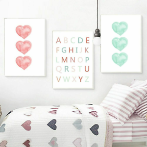 Details about Alphabet Posters Canvas Pictures For Kids Wall Bedroom  Decorative Paintings Cute