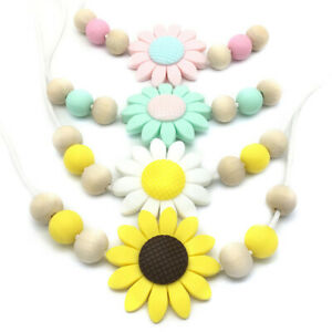 Sunflower-Silicone-Teether-Nursing-Mom-Necklace-Teething-Baby-Sensory-Jewelry