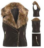 Womens Fur Jacket Biker Waist Leather Coat Black Sleeveless Gilet Sizes UK 8-16