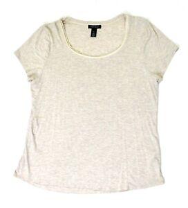 White-House-Black-Market-womens-beige-t-shirt-size-XL-short-sleeve-casual