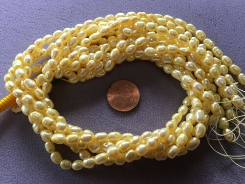 """2 TWO 16/"""" Strand 6x5mm LIGHT YELLOW FRESHWATER PEARLS OVAL PEARLS"""