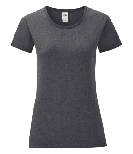 Fruit of the Loom Womans Ladies Soft Touch Plain Cotton Iconic Tee Shirt T-Shirt