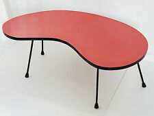 SUPERBE TABLE BASSE HARICOT ROGNON FORMICA ROUGE 1950 VINTAGE ROCKABILLY 50'S