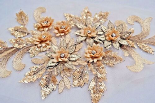 Sequin Gold Lace Applique Crystal Motif 3D Embroidery Flower Bridal Sewing Patch