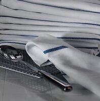 1 Dozen 100% Cotton Herringbone Blue Stripe Dish Towels Lint Free Barber 22oz on sale