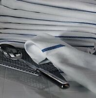 1 Dozen 100% Cotton Herringbone Blue Stripe Dish Towels Lint Free Barber 22oz on sale