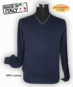 MAGLIONCINO-UOMO-IN-FILO-100-COTONE-MADE-IN-ITALY-SCOLLO-A-V-blu-tg-48-56