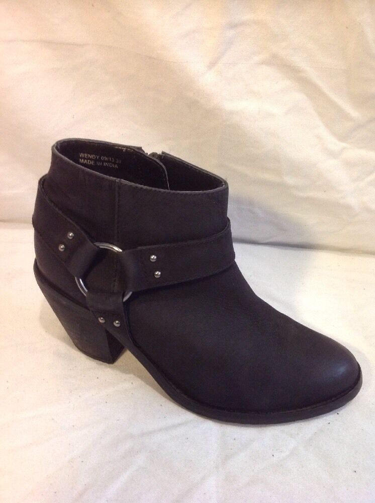 Oasis Black Ankle Leather Boots Size 37
