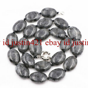 """Natural 13x18mm Black Gray Labradorite Oval Gemstones Necklace 18/""""AAA"""