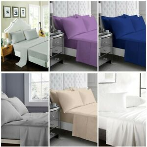 Luxury-100-Poly-Cotton-Flat-Sheet-Single-Double-King-Super-King-Size-Top-Sheets