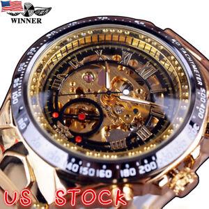 New-Winner-Men-039-s-Skeleton-Stainless-Steel-Automatic-Mechanical-Sport-Wrist-Watch