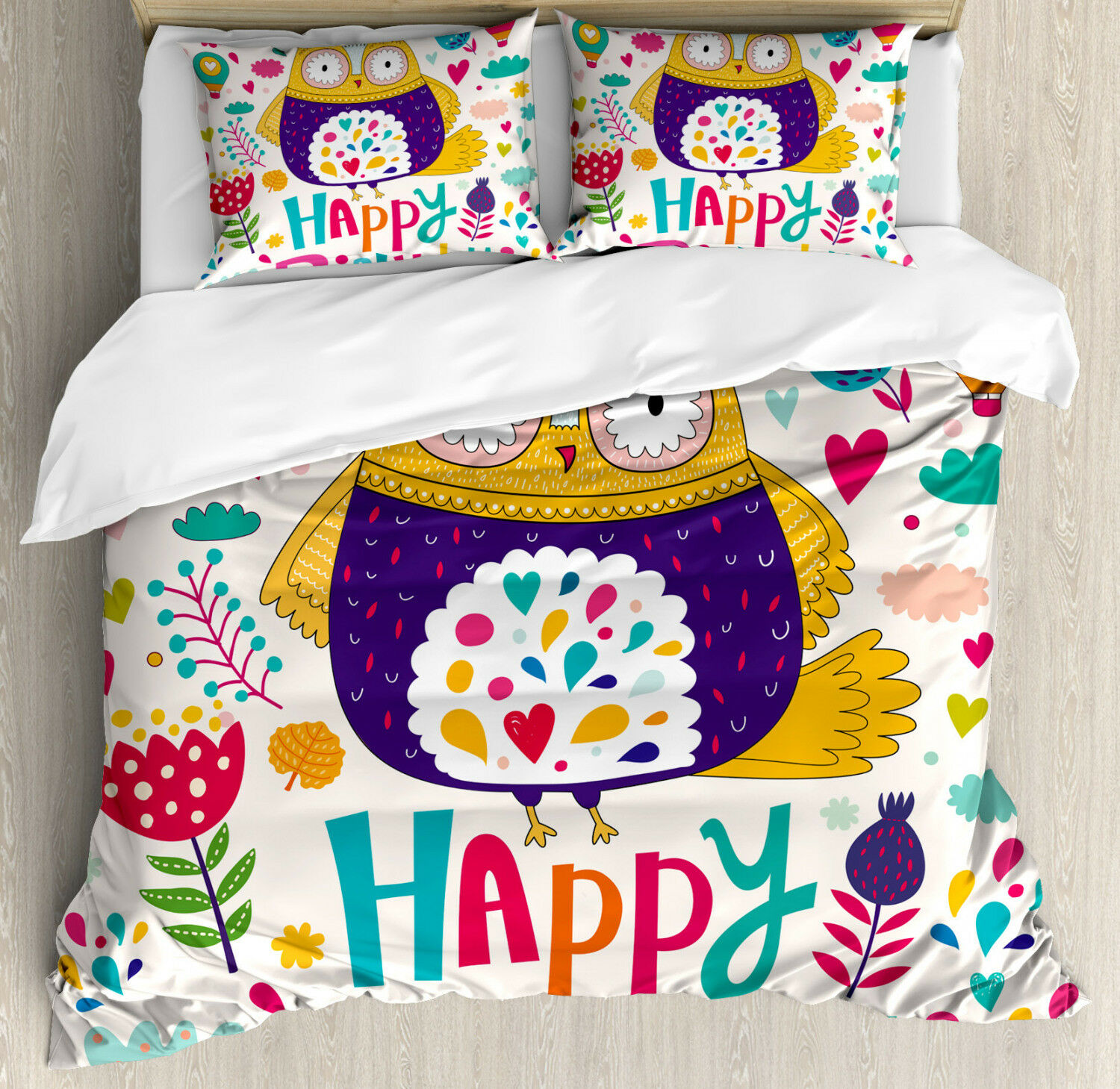 Owl Duvet Cover Set with Pillow Shams Funny Greeting Doodle Art Print