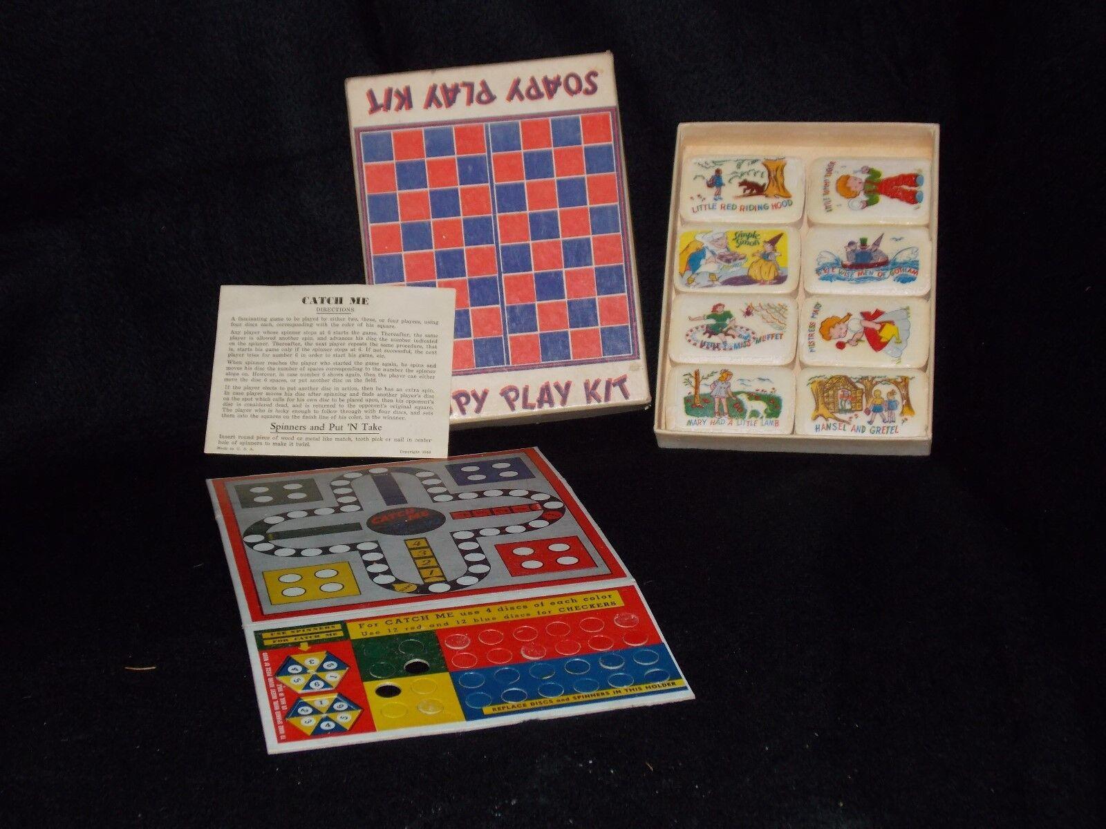1950's Illustrated Soap Castilla Nürnsery Rhyme Soapy spela Kit spel RARE