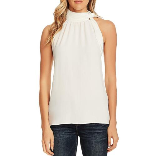 Vince Camuto Womens Ivory Tie Mock Sleeveless Blouse Halter Top Top XL BHFO 6497