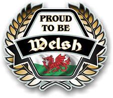 PROUD TO BE Welsh Golden Crest Emblem Wales CYMRU Flag Vinyl car helmet sticker