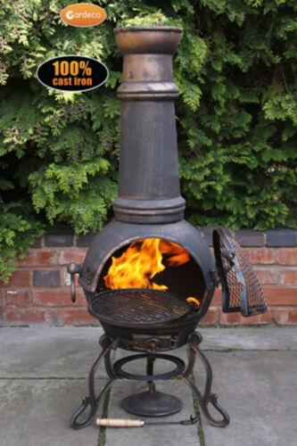 TOLEDO ext grand Chimenea 129cmh garden patio Chauffage Feu Woodburner fonte