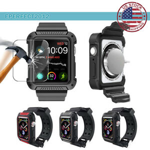 Rugged-Armor-Bumper-Case-Band-Strap-Screen-Cover-fr-Apple-Watch-Series-5-40-44MM