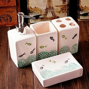 Image Is Loading Bathroom Toilet Ceramic Set 4 PCS Blue Sea