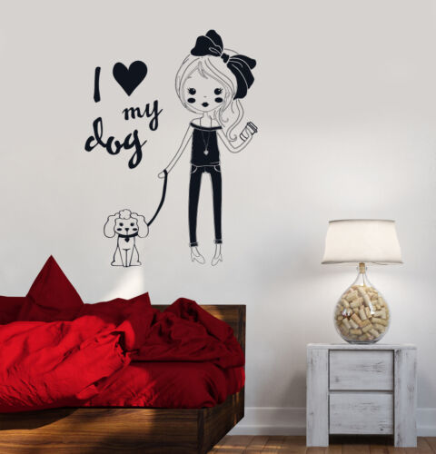 ig3518 Vinyl Decal Pretty Teen Girl With Dog Room Decor Wall Stickers