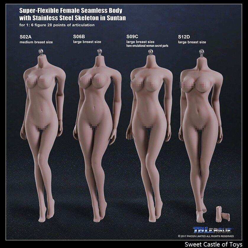 1 6 Phicen Flexible Acero Esqueleto sin Costuras Bronceado Busto Medio S02A