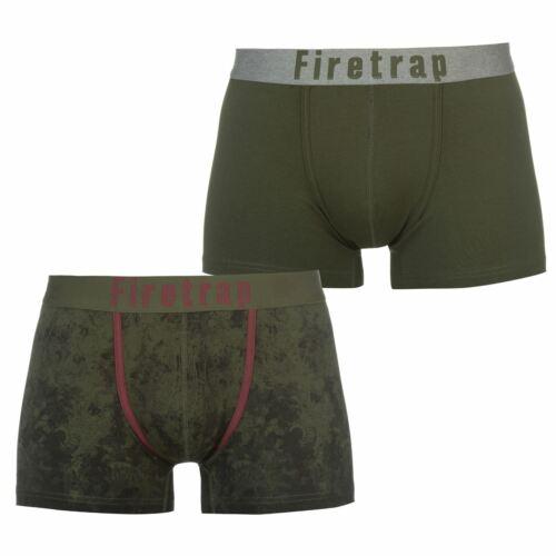 Firetrap Homme Pack de 2 Boxers Trunks Sous-vêtements Motif Taille Élastique