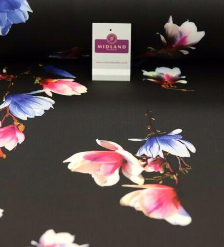Black Floral Printed scuba Fabric 150cm MK1213-1 Mtex