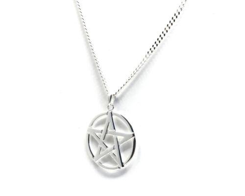 Men/'s Sterling Silver Pentacle Pendant on 60 cm Medium Diamond-cut Curb Chain