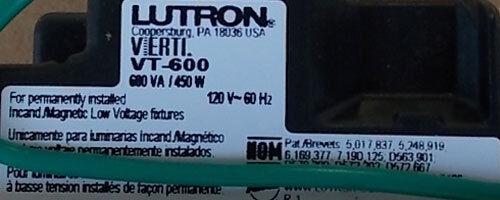 NEW Lutron VT-600-G-LA 600W 120V 1P Dimmer Green LED w// Lt Almond Wallplate