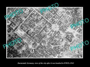 OLD-LARGE-HISTORIC-PHOTO-DARMSTADT-GERMANY-AERIAL-VIEW-AFTER-WWII-BOMBING-c1943