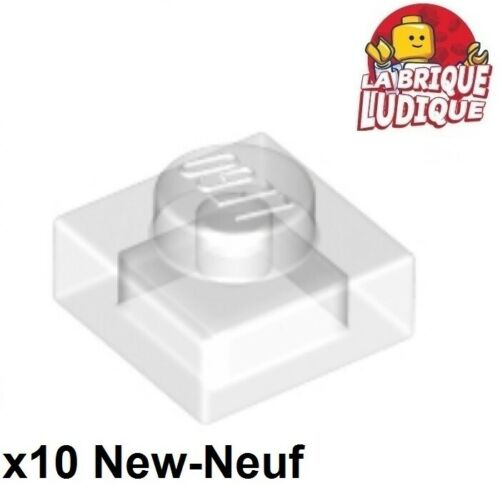 10x Plate Modified 1x1 transparent trans clear 3024 NEUF Lego