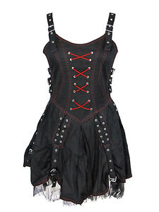 16a6e201f Dark Star Gothic Black and Red Buckle Corset Dress S M L XL 1X 2X ...