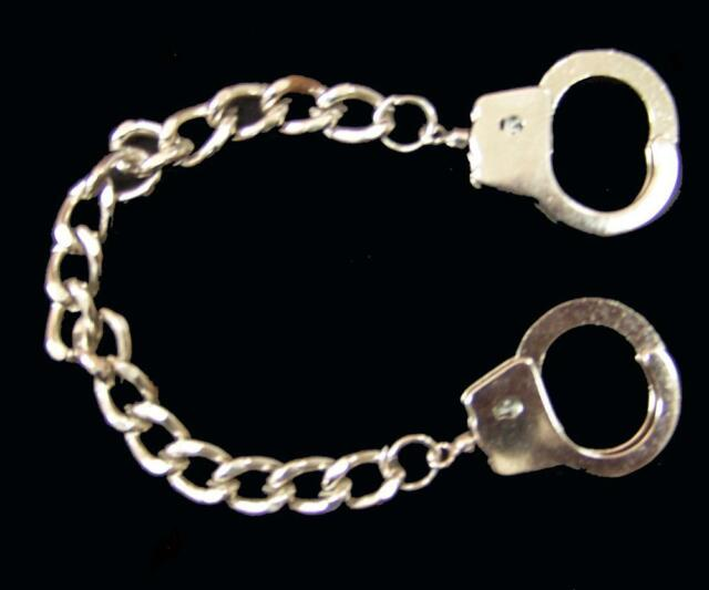 Finger Handcuff Bracelet W 7 Inch Chain Mens Women Jewelry Silver Handcuffs