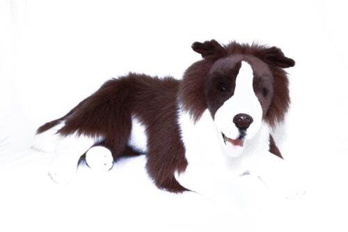 *NEW* BOCCHETTA - FUDGE LARGE LYING BROWN BORDER COLLIE DOG SOFT TOY 62cm
