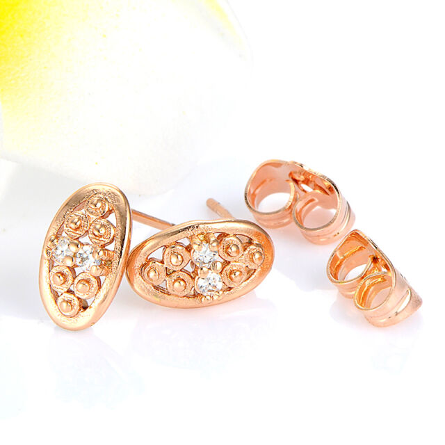 1 Pair Womens Rose Gold Plated Clear Cubic Zirconia Stud Earrings Girls