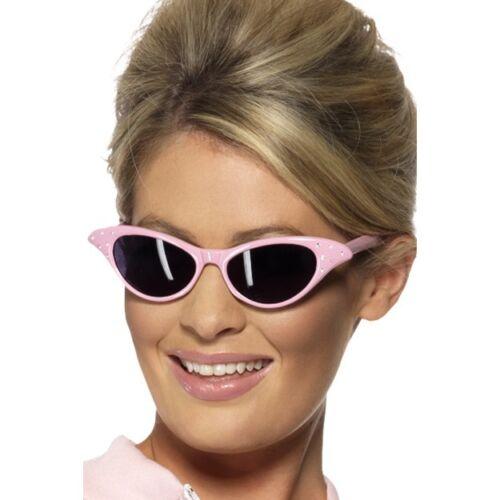 Women/'s Ladies 50/'s Flyaway Pink Sunglasses Rock n Roll Retro Fancy Dress Grease