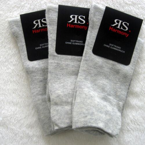 3 Paar Herrensocken Socken ohne Gummi extra weicher Softrand Stein 39 bis 46
